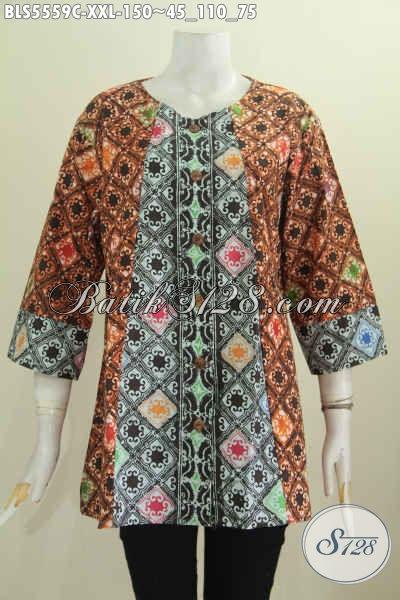 Batik Blus Dua Motif, Pakaian Batik Dua Warna Proses Cap Bahan Halus Dan Adem Model Tanpa Kerah Spesial Untuk Perempuan Gemuk [BLS5559C-XXL]