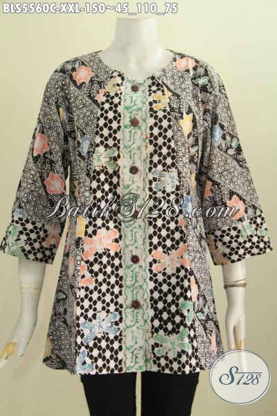 Juragan Baju Batik Online, Sedia Blus Batik Jumbo Kombinasi Dua Warna, Baju Batik Wanita Gemuk Model Tanpa Kerah Motif Proses Cap Cocok Untuk Kerja Tampil Elegan [BLS5560C-XXL]