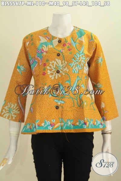Baju Batik Keren Dasar Kuning Motif Bagus Proses Printing, Blus Batik Tanpa Kerah Untuk Penampilan Lebih Keren [BLS5567P-M]