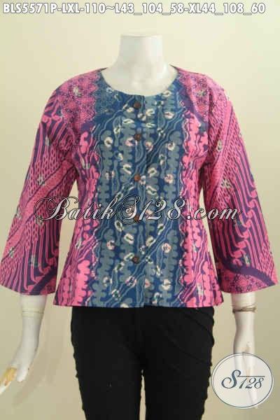 Online Shop Pakaian Batik Modern Khas Jawa Tengah, Jual Blus Dua Warna Bahan Halus Motif Elegan Proses Printing Hanya 100K [BLS5571P-L , XL]