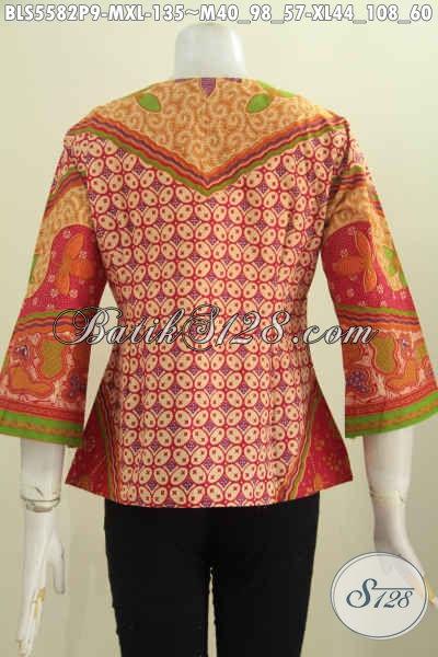 Pakaian Batik Blus Modis Motif Elegan Dengan Sentuhan Etnik, Baju Batik Printing Tanpa Kerah Tampil Mewah Dengan Harga Murah  [BLS5582P-M , XL]