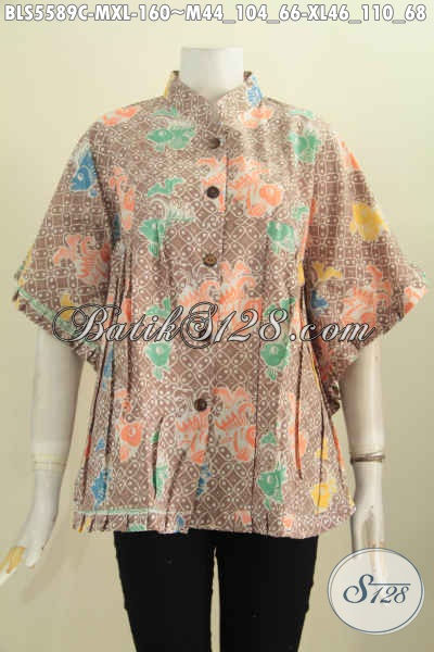 Batik Blus Warna Pastel, Busana Batik Wanita Muda Dan Dewasa Model Kipas Berbahan Katun Halus Motif Keren Proses Cap Harga 160K [BLS5589C-XL]