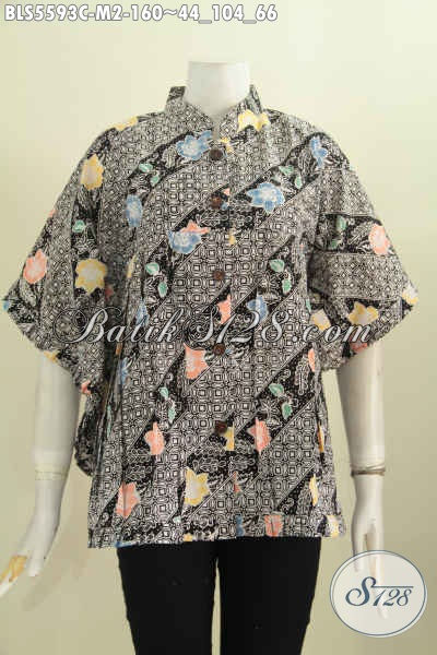 Sedia Baju Batik Keren Motif Bagus Buatan Solo Asli, Produk Blus Batik Model Kipas Kerah Shanghai Proses Cap Harga 160 Ribu [BLS5593C-M]