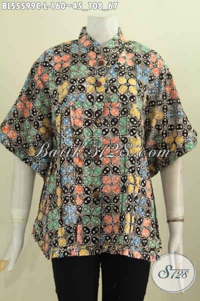 Baju Batik Trendy Model Kelelawar Pakai Kerah Shanghai, Baju Batik Modern Motif Unik Proses Cap Wanita Terlihat Keren Dan Stylish [BLS5599C-L]
