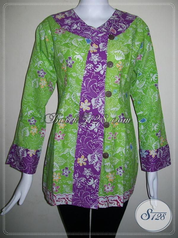 Blus Batik Wanita Warna Hijau Cerah,Baju Batik Wanita Exclusive Dan Trendy [BLS561C-L]