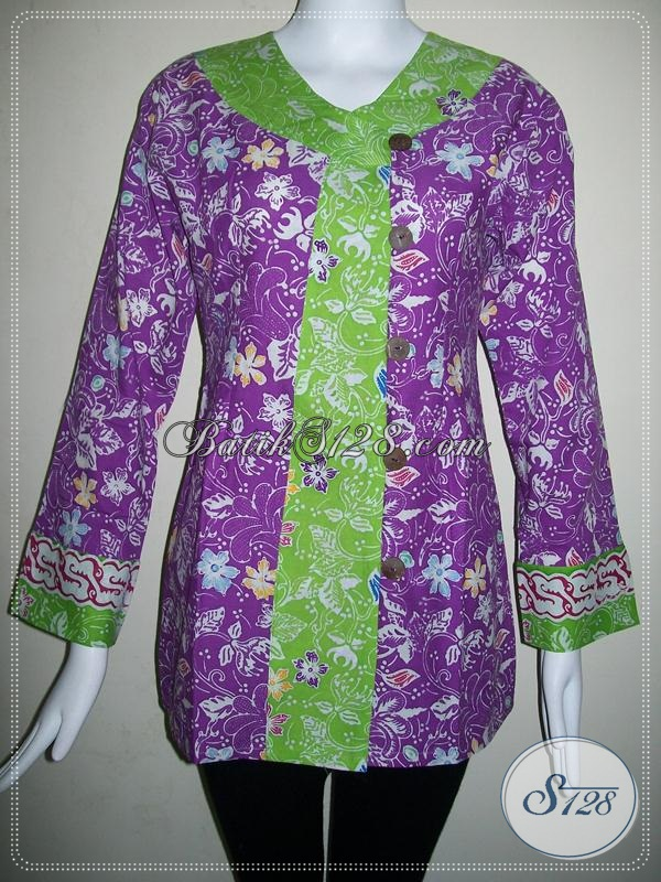 Kombinasi Batik Warna Ungu Dan Hijau,Blus Batik Elegan Masa Kini [BLS562C-L]