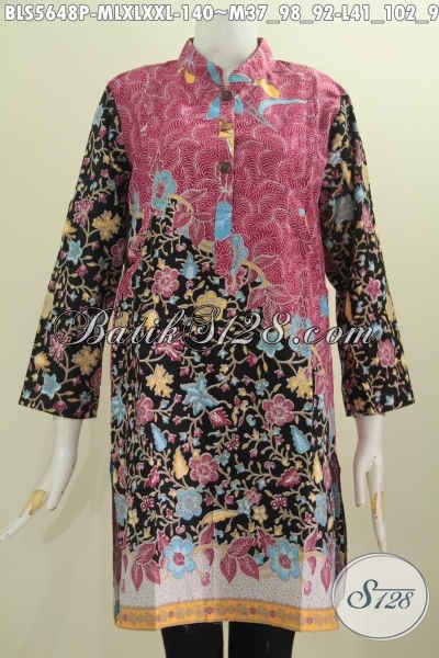 Blus Batik Dua Warna, Baju Muslim Batik Lengan Panjang Motif Bunga Pake Kerah Shanghai Proses Printing Harga 140K [BLS5648P-XL]