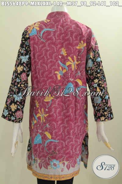 Blus Batik Dua Warna Baju Muslim Batik Lengan Panjang