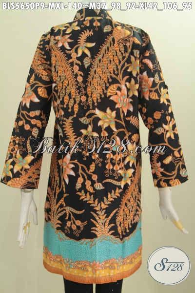 Baju Blus Elegan Model Kerah Shanghai, Busana Muslim Batik Lengan Panjang Motif Berkelas Harga Terjangkau [BLS5650P-M]