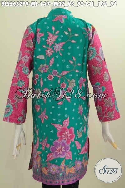 Blus Batik Muslim Dua Warna, Pakaian Batik Lengan Panjang Kerah Shanghai Bahan Halus Motif Feminim Proses Printing Asli Dari Solo [BLS5652P-M]