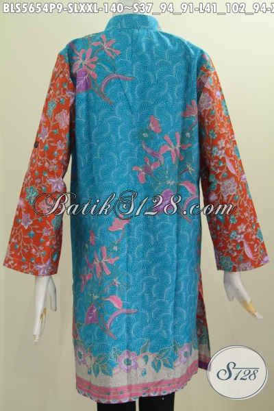 Pakaian Blus Batik Muslim Motif Terkini, Baju BatikKerah Shanghai Lengan Panjang Proses Printing Bikin Penampilan Lebih Trendy [BLS5654P-L]