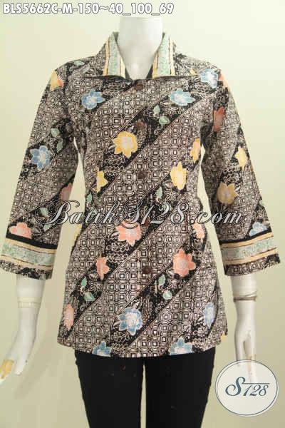 Blus Batik Kerah Kotak Motif Bunga Dengan Sentuhan Klasik Nan Mewa Elegan, Baju Batik Proses Cap Untuk Kerja Kantoran [BLS5662C-M]