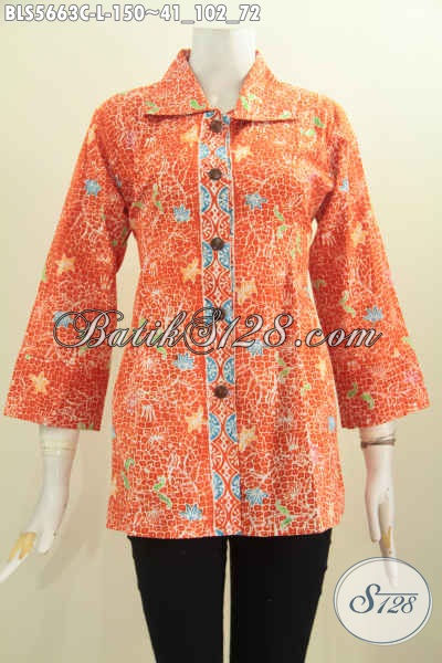 Jual Online Blus Kerah Kotak Warna Orange Motif Bagus Proses Cap Untuk Wanita Tampil Trendy Dan Cantik [BLS5663C-L]
