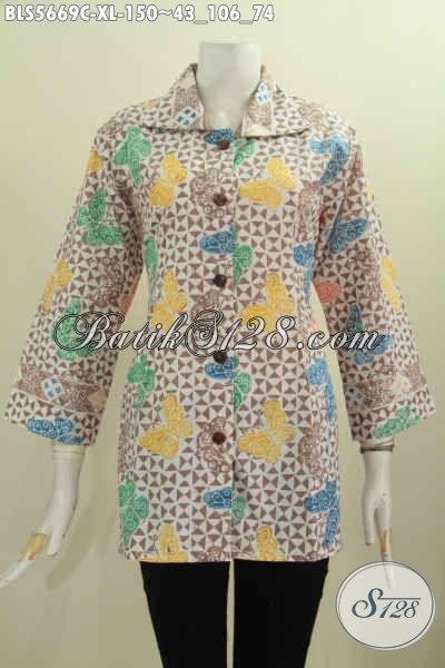 Toko Online Busana Batik, Baju Batik Halus Proses Cap Model Kerah Kotak, Pas Banget Untuk Seragam Kerja [BLS5669C-XL]