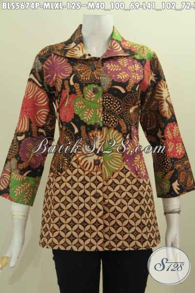 Aneka Blus Batik Printing Motif Mewah Bahan Adem Model Kerah Kotak Untukk Wanita Muda Dan Dewasa [BLS5674P-L , XL]