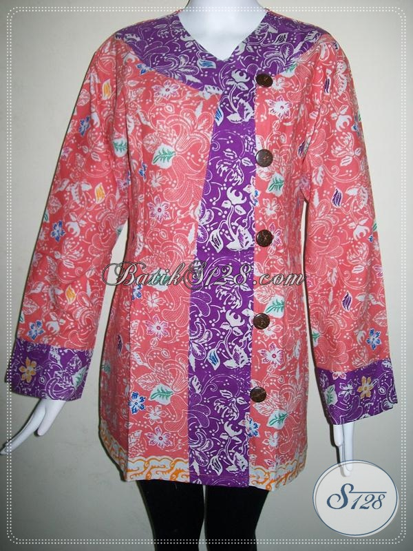 Baju Wanita Batik Warna Pink Blus Kerja Batik Lengan