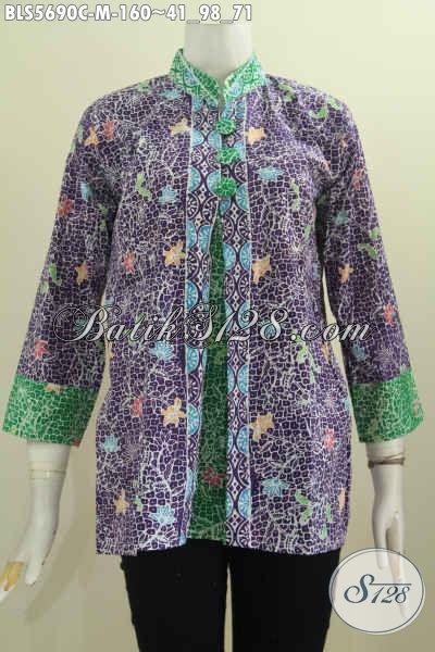 Jual Baju Blus Batik Pias Dual Warna, Pakaian Batik Modis Motif Mewah Proses Cap Di Jual Onlin 160K, Size M