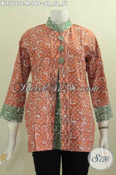 Baju Batik Solo Trend Mode 2017 Blus Pias Depan Kancing