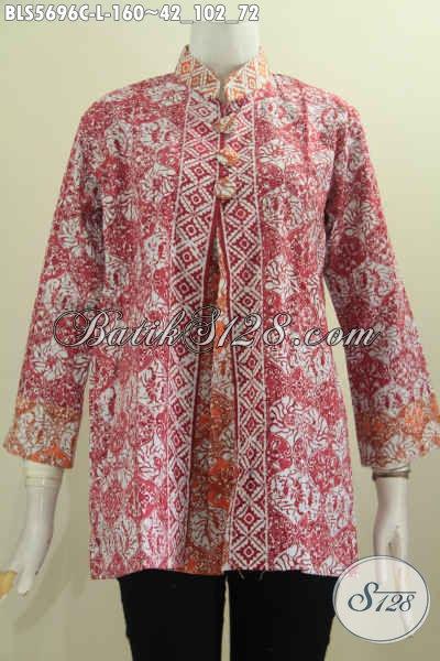 Baju Batik Paling Trendy Bauit Kerja Bisa Untuk Acara Formal Juga Modis, Berbahan Halus Motif Mewah Model Pias Kancing Besar Hanya 160 Ribu [BLS5696C-L]