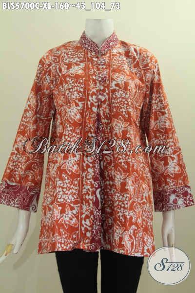 Batik Blus Model Pias Pake Kancing Besar Baju Batik