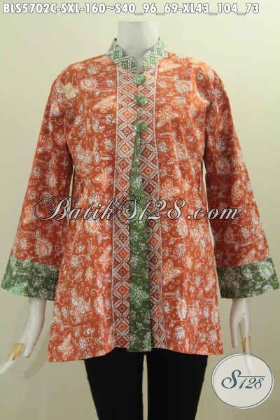 Batik Dress Istimewa Motif Bagus Proses Cap Model Pias Pakai Kancing Depan Besar Untuk Wanita Muda Dan Dewasa Tampil Beda Dan Gaya [BLS5702C-S , XL]