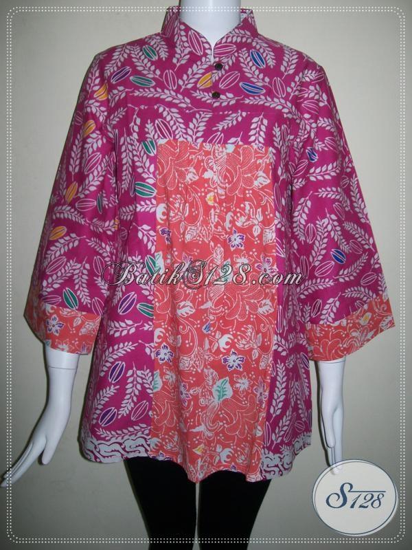 Blus Batik Trendy,Blus BAtik Kerja Wanita Kantor [BLS573C-L]
