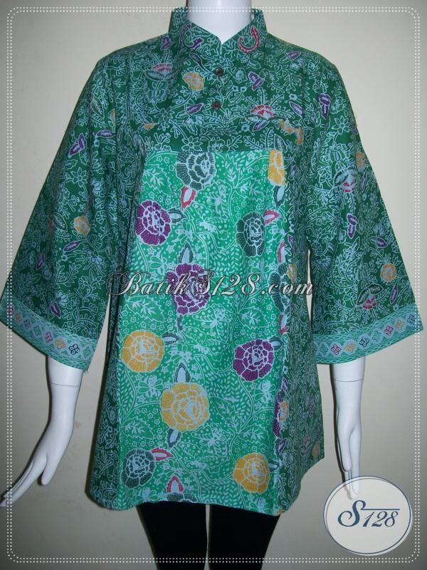 Blus Batik Kerja Wanita Model Modern Baju Batik Wanita Warna Hijau