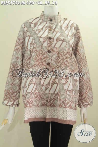Baju Blus Istimewa Dengan Kombinasi Dua Warna, Baju BatikKerah Shanghai Lengan Panjang Proses Cap Harga 160K [BLS5775C-M]