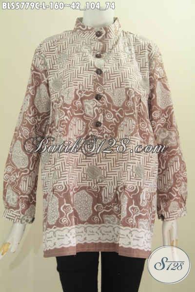 Blus Batik Lengan Panjang Kerah Shanghai, Busana Batik Dua Warna Kwalitas Halus Proses Cap Harga 160K, Size L