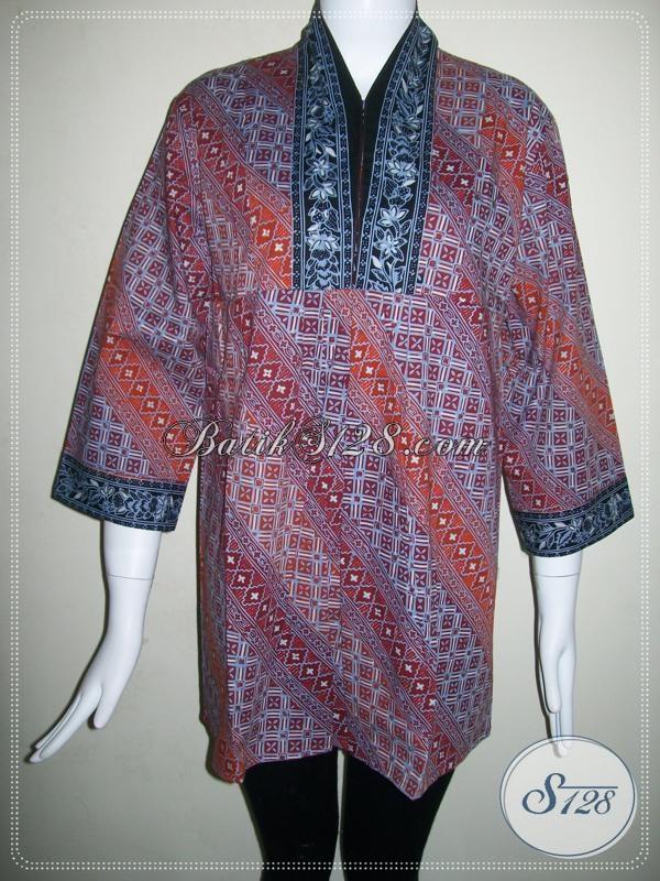 BAtik Cap (Malam) Untuk Blus Batik Kerja Wanita Trendy Dan Elegan [BLS577CG-M]