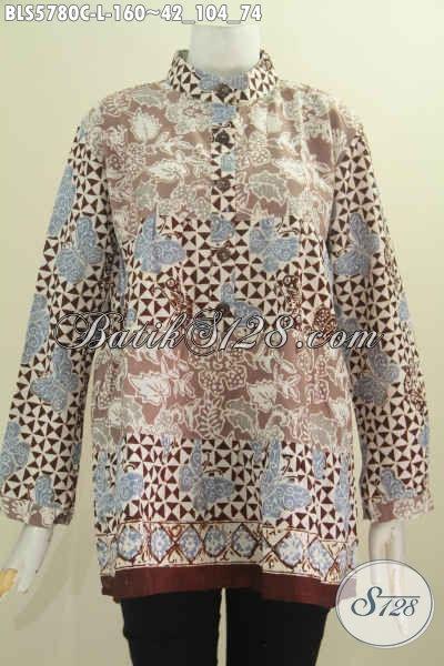 Baju Blus Modern Nan Modis, Pakaian Batik Solo Lengan Panjang Dua Warna Proses Cap Model Kerah Shanghai Tampil Lebih Istimewa [BLS5780C-L]
