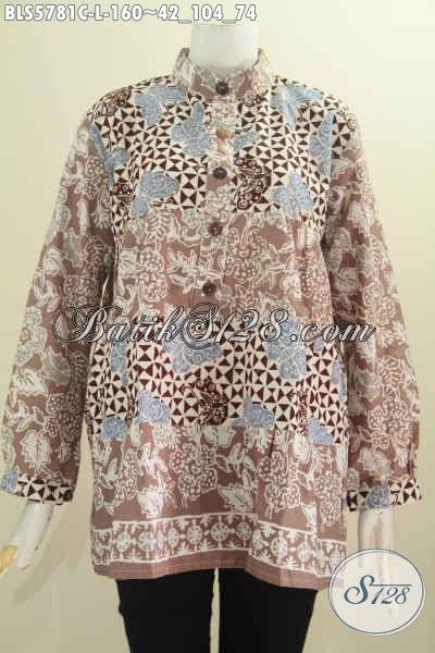 Agen Baju Batik Online, Busana Batik Istimewa Buatan Solo Bahan Adem Proses Cap Kwalitas Bagus Model Lengan Panjang Dua Warna Kerah Shanghai [BLS5781C-L]