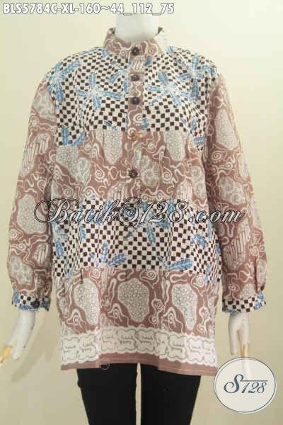 Baju Blus Dua Warna Model Kerah Shanghai, Pakaian Batik Modis Lengan Panjang Proses Cap Buatan Solo Spesial Buat Wanita Karir [BLS5784C-XL]