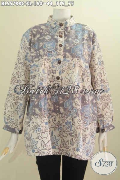 Baju Blus Kerah Shanghai Untuk Seragam Kerja, Baju Batik Lengan Panjang 2 Warna Bahan Halus Motif Trendy Cocok Juga Buat Gaul, Size XL