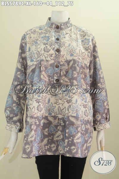 Jual Blus Batik Kekinian, Pakaian Batik Halus Lengan Panjang Kerah Shanghai Bahan Adem Motif Bagus Cocok Untuk Wanita Berhijab, Size XL