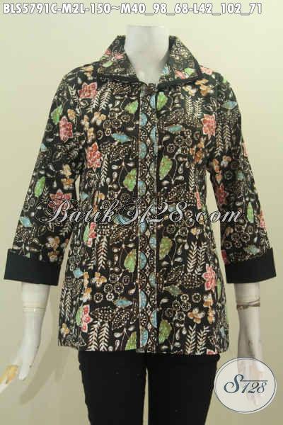 Baju Blus Plisir Kerah Polos Cocok Untuk Wanita Kerja Kantoran, Busana Batik Modis Motif Bagus Proses Cap Harga 150K, Size L