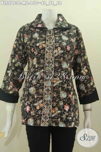 Pakaian Batik Masa Kini Buat Wanita Muda, Blus Plisir Kerah Polos Motif Mewah Proses Cap Harga 150 Ribu [BLS5793C-M]