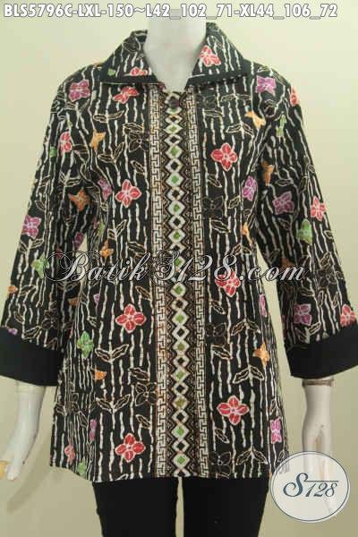 Pakaian Batik Wanita Terbaru, Hadir Dengan Desain Plisir Kerah Polos Bahan Adem Lebih Modis Dan Nyaman Di Pakai [BLS5796C-L]