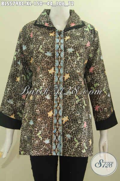 Sedia Pakaian Batik Wanita Dewasa Size XL, Hadir Dengan Model Plisir Kerah Polos Kwalitas Bagus Untuk Tampil Istimewa Dan Elegan [BLS5798C-XL]