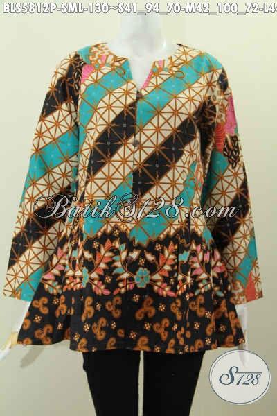 Batik Blus Tanpa Kerah Tren Mode Terkini, Baju Batik Modis Rempel Bawah Pas Banget Untuk Wanita Muda, Size L