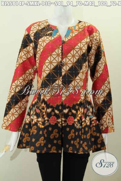 Batik Blus Rempel Bawah, Busana Batik Keren Tanpa Kerah Motif Mewah Buatan Solo Proses Printing Harga 100 Ribuan [BLS5814P-M]