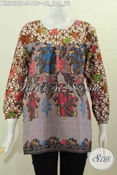 Baju Blus Motif Kombinasi, Pakaian Batik Trendy Dual Warna Tanpa Krah Desain Lengan Panjang Cocok Buat Jalan-Jalan [BLS5820P-S]