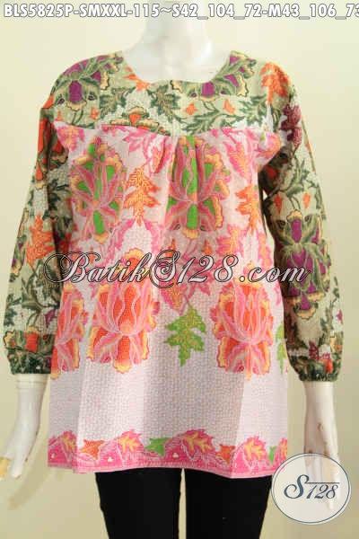 Sedia Busana Batik Nan Trendy, Baju Batik Tanpa Kerah Model Lengan Panjang Dua Warna, Pakaian Batik Gaul Wanita Untuk Tampil Bergaya [BLS5825P-M]
