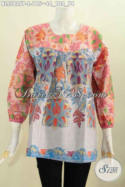 Baju Blus Lengan Panjang Motif Keren Dan Unik, Batik Solo Busana Wanita Tanpa Kerah Proses Printing Hanya 100 Ribuan [BLS5827P-L]