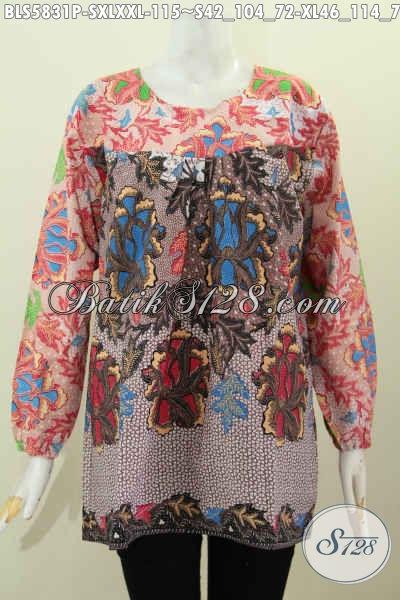 Pakaian Blus Batik Nan Modis, Produk Baju Batik Solo Halus Lengan Panjang Dual Warna Proses Printing Tidak Pakai Kerah Harga 115K [BLS5831P-S , XL]