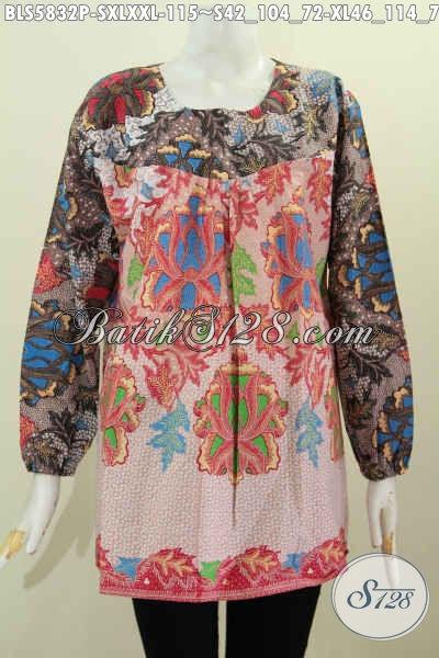 Sedia Pakaian Batik Blus Halus Proses Printing Motif Keren, Baju Batik Dua Warna Lengan Panjang Tanpa Kerah, Modis Buat Pesta Dan Busana Kerja [BLS5832P-XL]