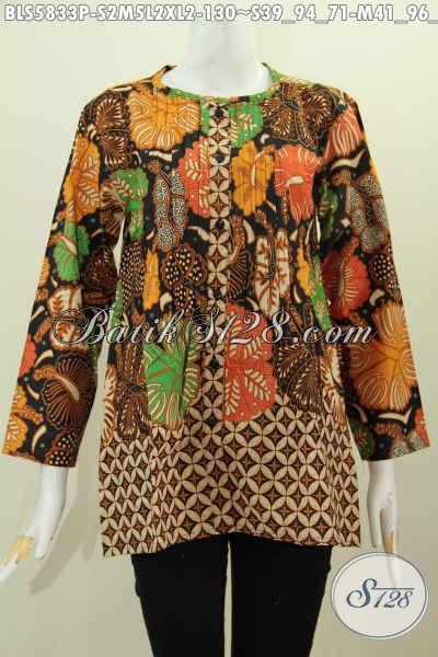 Blus Batik Solo Masa Kini, Hadir Dengan Model Tanpa Krah Lengan Panjang Berpadu Dual Warna Trendy Tampil Lebih Cantik, Size S – M – XL