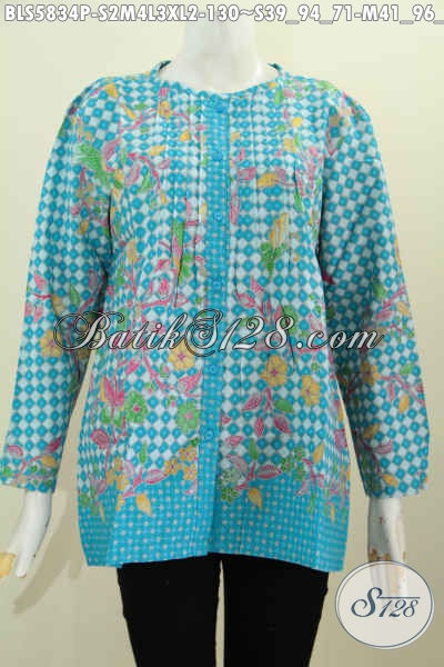Blus Batik Kerja Lengan Panjang Warna Keren Motif Bagus Proses Printing, Baju Batik Kancing Depan Buat Wanita Karir Terlihat Modis Dan Istimewa [BLS5834P-S , M , L]