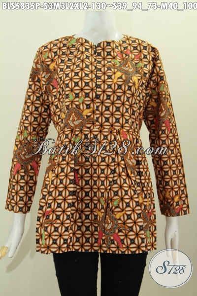 Baju Blus Batik Lengan Panjang Model Terkini Dengan Resleting Depan Pake Karet Belakang, Baju Batik Elegan Berkelas Prosers Printing Hanya 130 Ribu [BLS5835P-S , M , L]