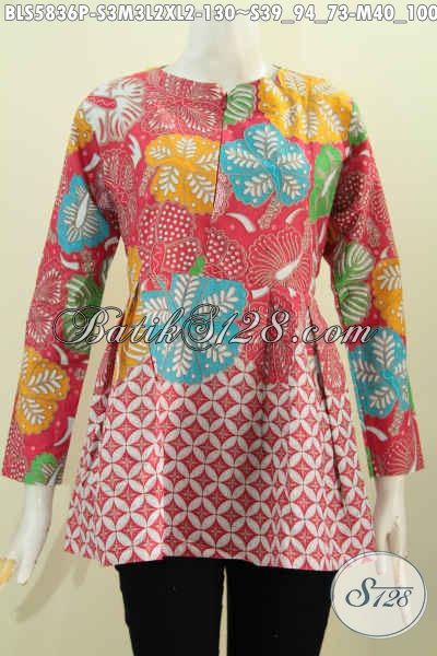 Pakaian Blus Batik Trend Terkini, Baju Batik Jawa Tengah Model Lengan Panjang Terbaru Pakai Resleting Depan Dan Karet Belakang Bahan Adem Dan Nyaman Di Pakai [BLS5836P-S]
